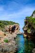 Cala de Rafalet cove in sunny day, Menorca island