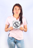 Girl with phone sign