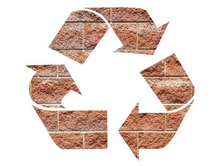 Recycle symbol using red bricks isolated on white background