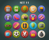 Round Bright Icons with Long Shadow Set 11