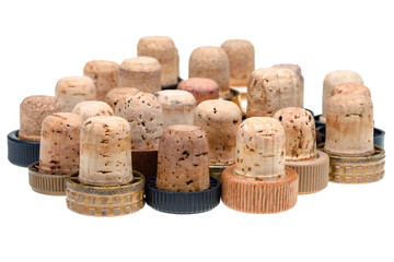 many used corks from strong drinks