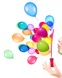 bubble wand and flying balloons