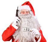 Santa Claus with telephone and banknotes