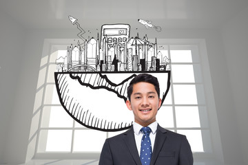 Composite image of business graphic in bright room