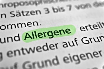 Allergene - grün markiert