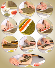Making rolled sushi collage