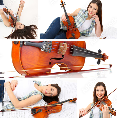 In de dag Art Studio Collage of beautiful young girl with violin