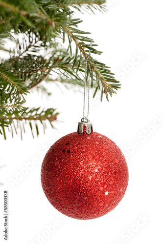 Red Christmas Ornament isolated on white