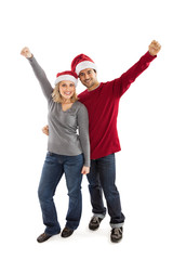 Happy Christmas couple cheering