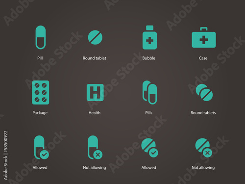 Pills and capsules icons.