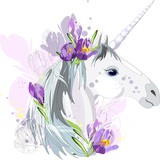 Unicorn with purple flowers