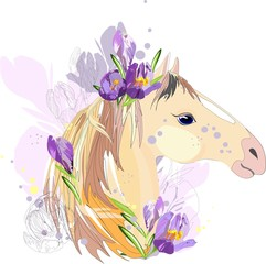 Horse with purple flowers