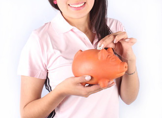 Girl with piggybank