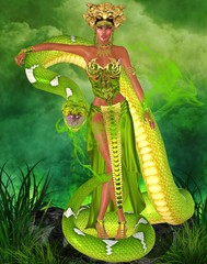 Magic snake goddess in green garden