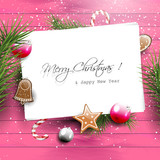 Pink Christmas greeting card with copyspace