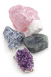 Top view of five big gemstones (crystals)