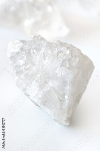 White crystal on white background