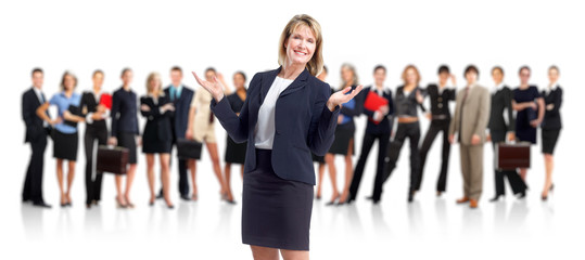 Business woman and people group.