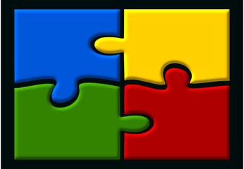 4 verbundene Puzzle-Elemente