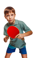 boy blond ping pong man playing table tennis backhand takes tops