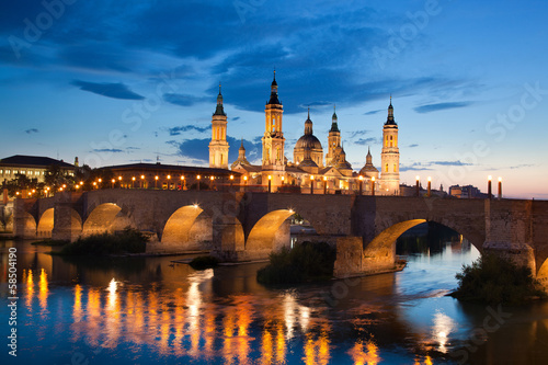 Basilica del Pilar in the evening at sunset. Zaragoza, Spain