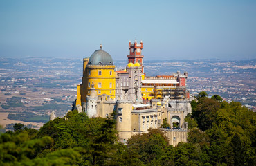 Panorama of Pena National Palace in Sintra, Portugal. Europe