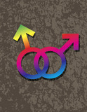 Male Gay Gender Symbols Interlocking Illustration poster
