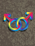 Male Gay Gender 3D Symbols Interlocking Illustration poster