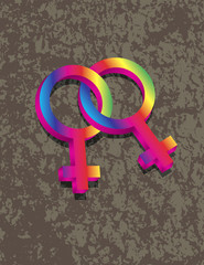 Female Lesbian Gender 3D Symbols Interlocking Illustration