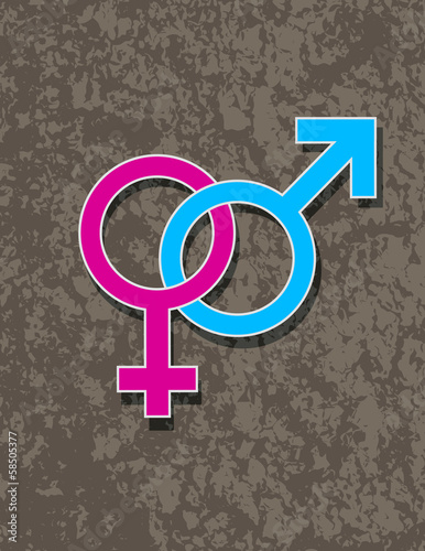 Male and Female Gender Symbol Interlocking Vector Illustration