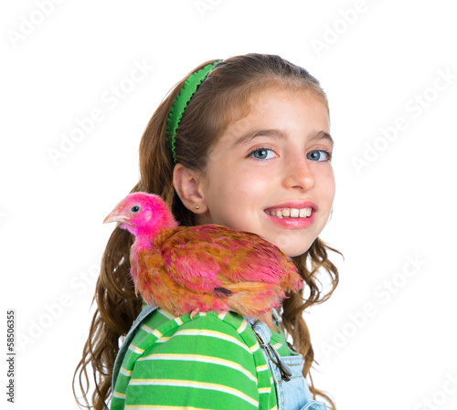 breeder hens kid girl rancher farmer with chicken chicks