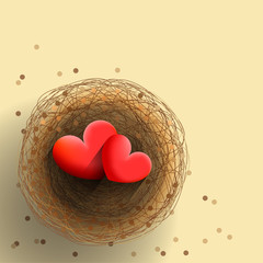 Two hearts in nest