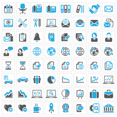 Business icon set, blue and dark grey series
