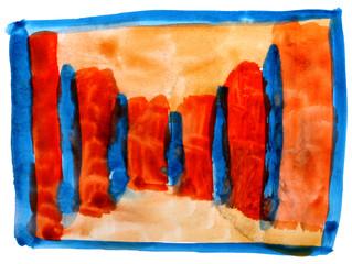 table yellow orange blue mesh chart stroke paint brush watercolo