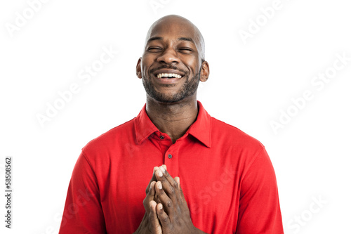Black man with prayer hands