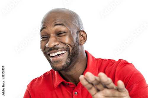 Black man laughing portrait