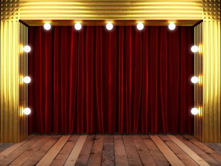 red fabrick curtain with gold on stage