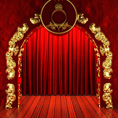 red fabric curtain with gold on stage