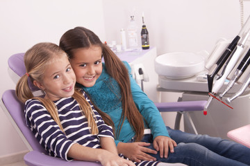little girls in dentist chair