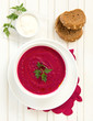 The traditional Russian beet soup.