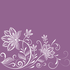 Abstract floral vintage purple background