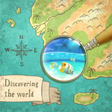 Magnifier Showing Beautiful Nature on the Old Map