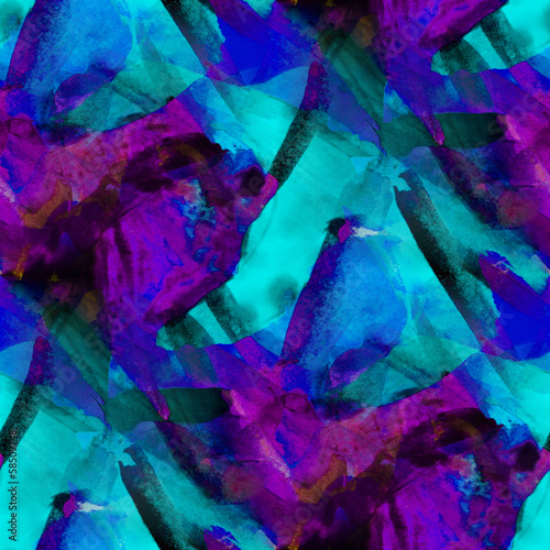 seamless cubism blue purple abstract art Picasso texture waterco - 58509748