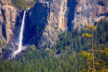 Yosemite Bridalveil fall waterfall at National Park