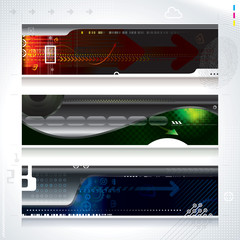 Set of abstract technology web banner.