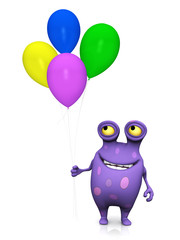 A spotted monster holding balloons.