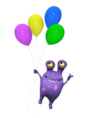 A spotted monster flying with balloons.