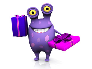 A spotted monster holding two birthday gifts.