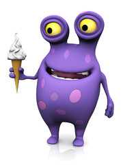 A spotted monster holding an ice cream.
