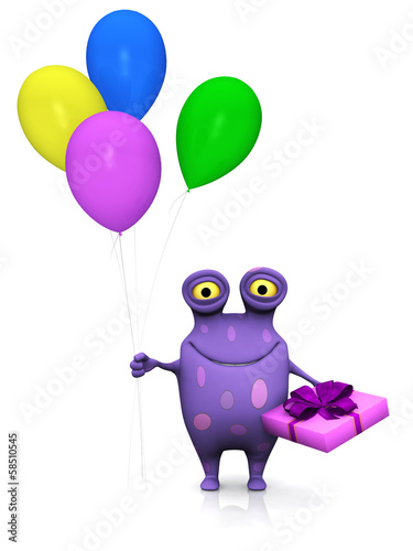 A spotted monster holding birthday gift and balloons.